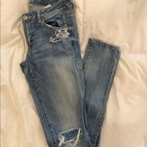 American Eagle Jeggings with Holes 8 Xlong